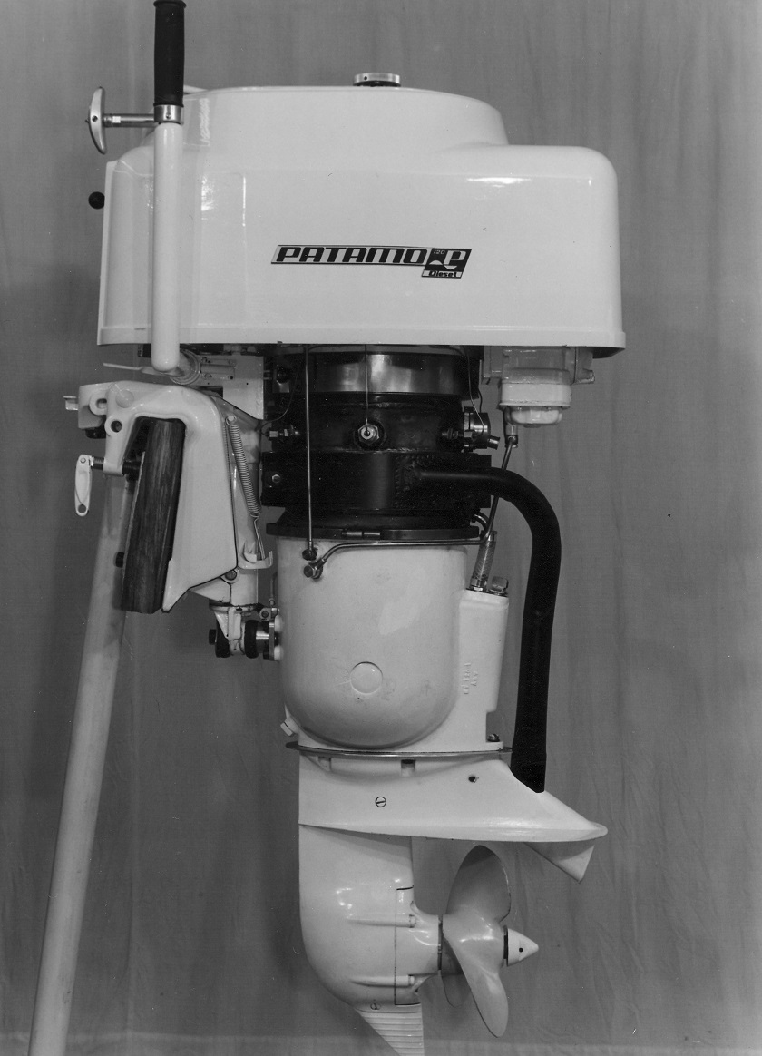 Papst- Wobbling Disk Engine PATAMO as an outboard Engine for diesel fuel