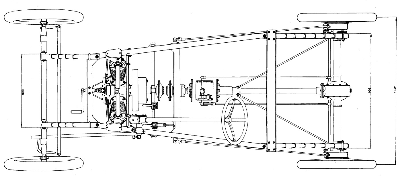 Design-Sketch of the Chassis including the drivetrain of the Automobile-Design
