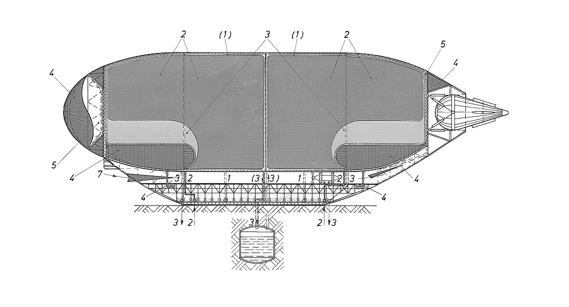 2. Hot air and steam are pushed out of the airship by natural gas from a gas source