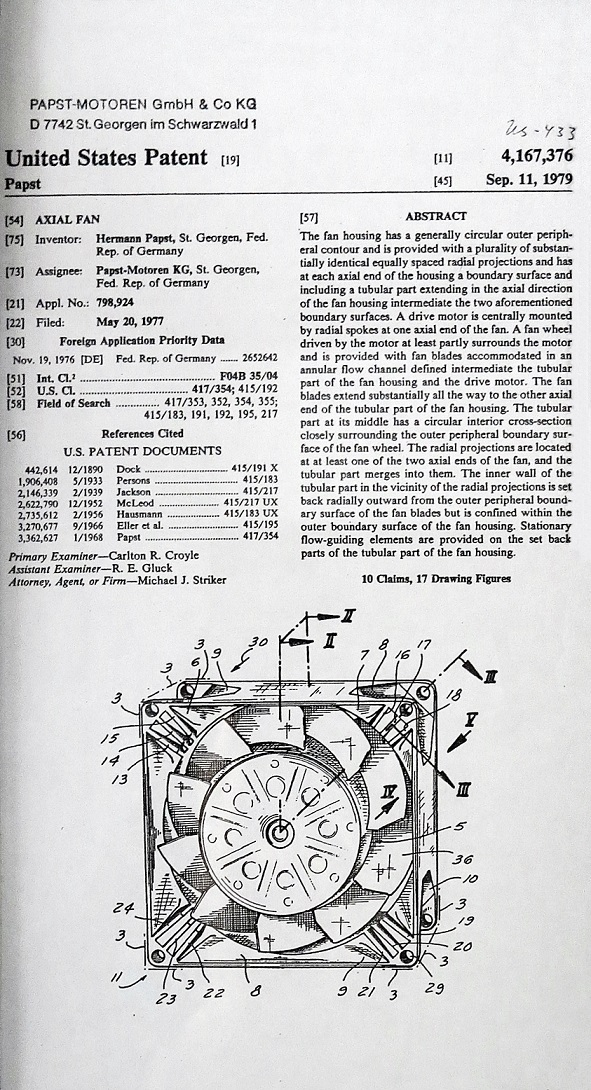 Drawings, calculations and patent drafts of Hermann Papst from 1938 on