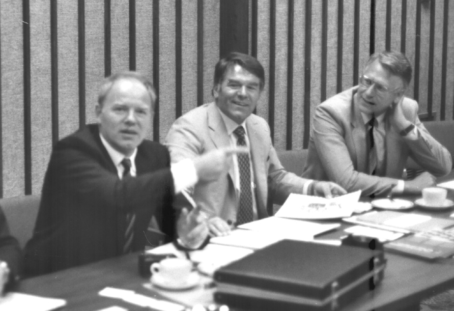 The Papst-Motoren GmbH & Co. KG management team at a negotiation in the USA in 1980: From right to left: Dr. Gerhard Schätzle, the sons Günter Helmut and Georg Friedrich Papst