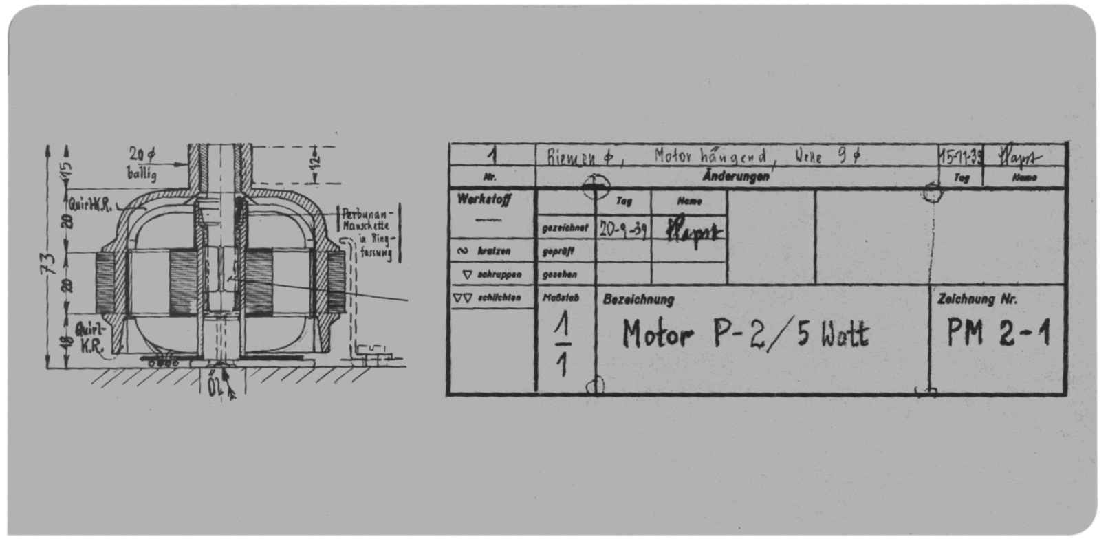 A sketch of the external rotor motor, that was developed by Hermann Papst and was manufactured in 1939 in small volume.